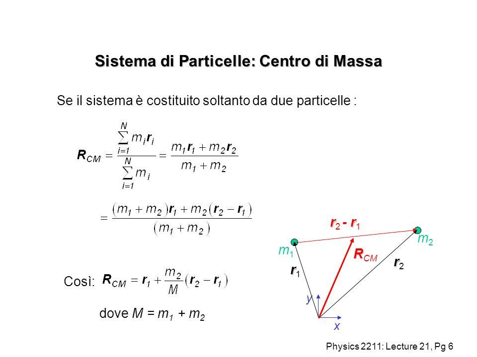 Physics 2211: Lecture 21, Pg 7 Sistema di Particelle: Centro di Massa Se il sistema è costituito soltanto da due particelle : y x rr2rr2 rr1rr1 m1m1 m2m2 R R CM r r r 2 - r 1 dove M = m 1 + m 2 + se m 1 = m 2 il CM è posto a metà fra le masse