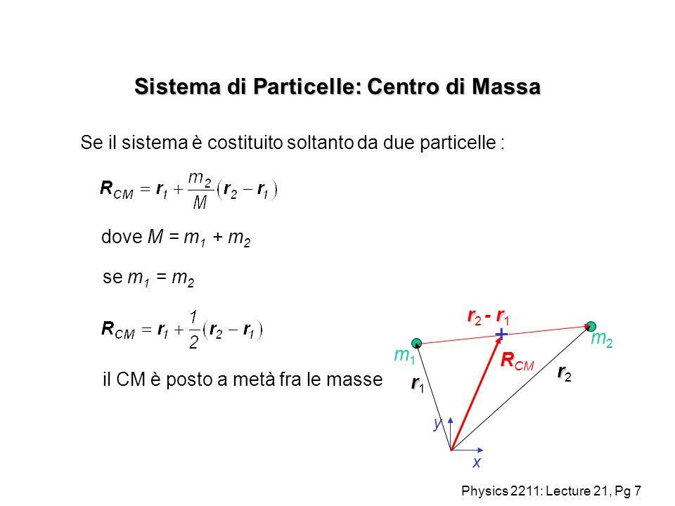 Physics 2211: Lecture 21, Pg 8 Sistema di Particelle: Centro di Massa Se il sistema è costituito soltanto da due particelle : y x rr2rr2 rr1rr1 m1m1 m2m2 R R CM r r r 2 - r 1 dove M = m 1 + m 2 + se m 1 = 3m 2 Il CM è ora più vicino alla massa più leggera.