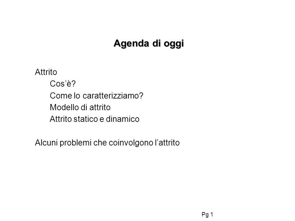 Pg 1 Agenda di oggi Agenda di oggi Attrito Cosè? Come lo caratterizziamo? Modello di attrito Attrito statico e dinamico Alcuni problemi che coinvolgon