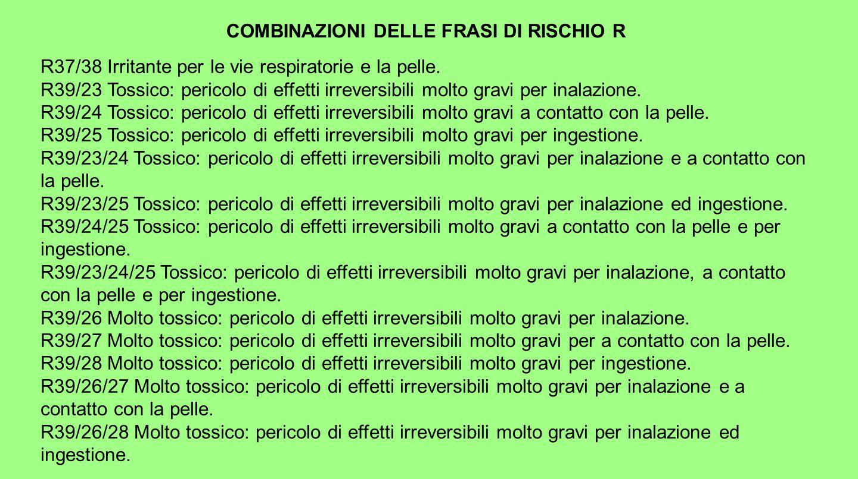 COMBINAZIONI DELLE FRASI DI RISCHIO R R37/38 Irritante per le vie respiratorie e la pelle. R39/23 Tossico: pericolo di effetti irreversibili molto gra