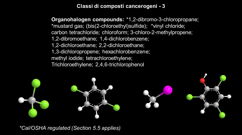 Classi di composti cancerogeni - 4 *Cal/OSHA regulated (Section 5.5 applies) N-Nitroso Compounds: *N-nitrosodimethylamine N-nitroso-n-alkylurea Aromatic amines: *4-aminobiphenyl; *benzidine ( p,p -diaminobiphenyl); *a-naphthylamine; *ß-naphthylamine; Aniline; o -anisidine (2-methoxyaniline); 2,4-diaminotoluene; o -toluidine