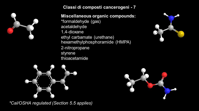 TOSSINE RIPRODUTTIVE INCLUDONO SOSTANZE CHE CAUSANO DANNI DEI CROMOSOMI POSSONO AVERE EFFETTO TARATOGENICO E/O MUTAGENICO SPESSO IL LORO EFFETTO SI MANIFESTA IN SEGUITO A LUNGHI PERIODI DI ESPOSIZIONE A BASSE CONCENTRAZIONI Acrylic acid Aniline Benzene Cadmium Carbon Disulfide N,N-Dimethylacetamide Dimethylformamide (DMF) Dimethyl sulfoxide (DMSO) Diphenylamine Estradiol Hexachlorobenzene Iodoacetic Acid Lead compounds Mercury Compounds Nitrobenzene Nitrous Oxide Phenol Polychlorinated biphenyls (PCBS) Polybrominated biphenyls (PBBS) Toluene Vinyl chloride Xylene Formaldehyde Formamide