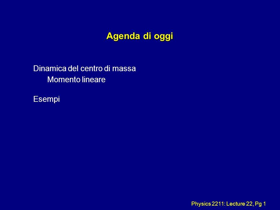 Physics 2211: Lecture 22, Pg 1 Agenda di oggi Dinamica del centro di massa Momento lineare Esempi