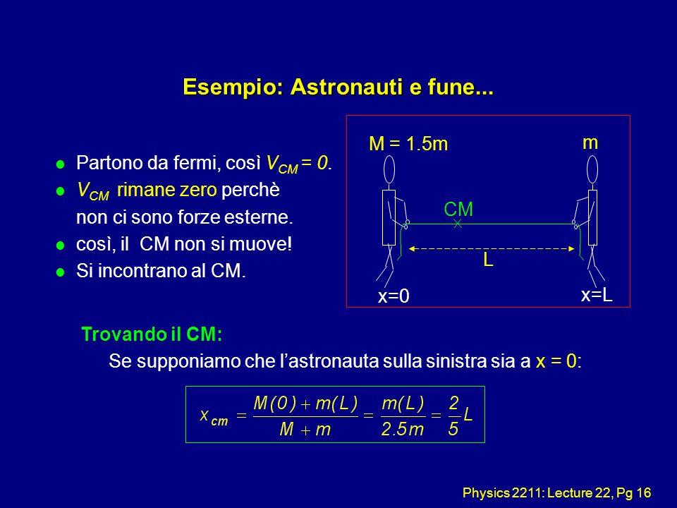 Physics 2211: Lecture 22, Pg 16 Esempio: Astronauti e fune... l Partono da fermi, così V CM = 0. l V CM rimane zero perchè non ci sono forze esterne.