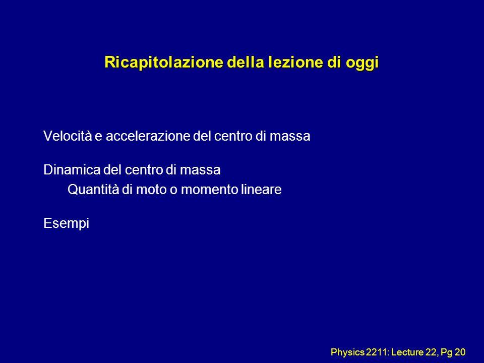 Physics 2211: Lecture 22, Pg 20 Ricapitolazione della lezione di oggi Velocità e accelerazione del centro di massa Dinamica del centro di massa Quanti
