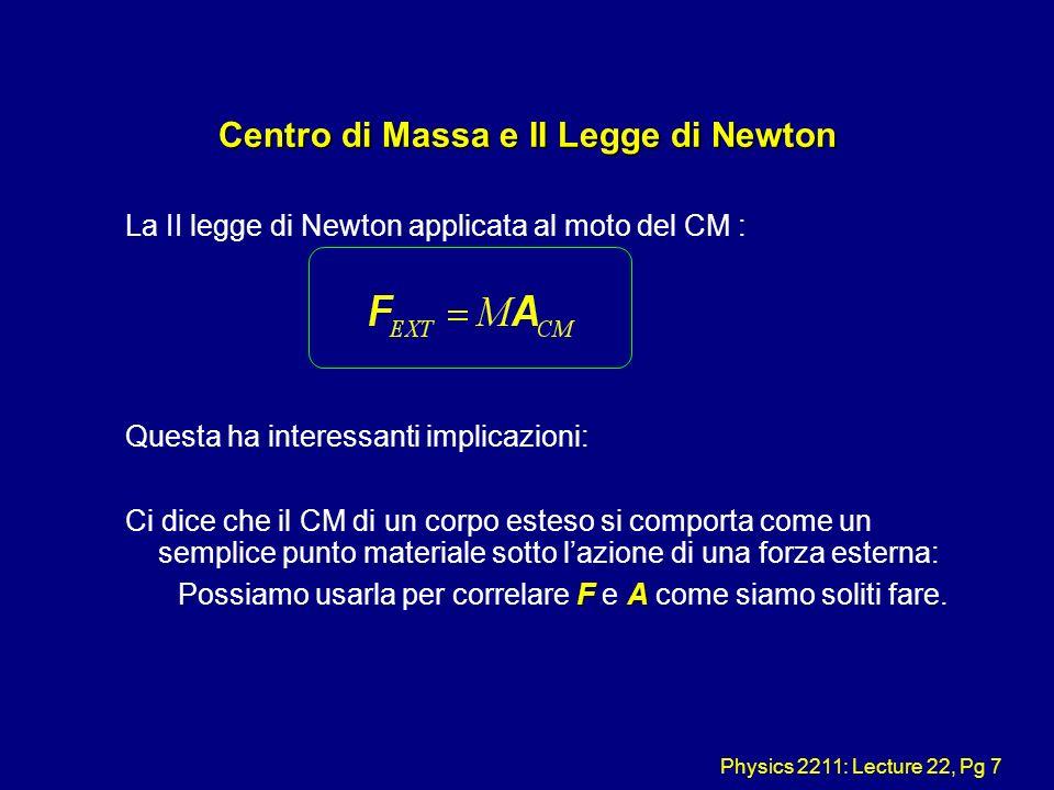 Physics 2211: Lecture 22, Pg 7 Centro di Massa e II Legge di Newton La II legge di Newton applicata al moto del CM : Questa ha interessanti implicazio