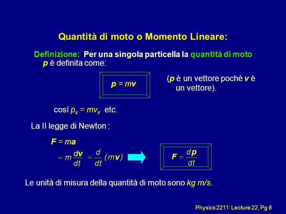 Physics 2211: Lecture 22, Pg 8 Quantità di moto o Momento Lineare: Definizione: Per una singola particella la quantità di moto p Definizione: Per una