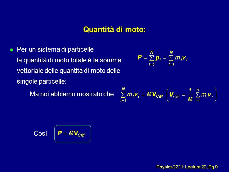 Physics 2211: Lecture 22, Pg 9 Quantità di moto: l Per un sistema di particelle la quantità di moto totale è la somma vettoriale delle quantità di mot
