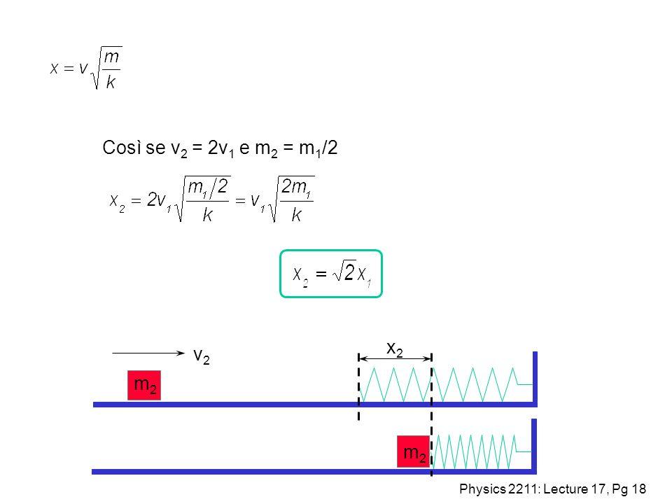Physics 2211: Lecture 17, Pg 18 x2x2 v2v2 m2m2 m2m2 Così se v 2 = 2v 1 e m 2 = m 1 /2