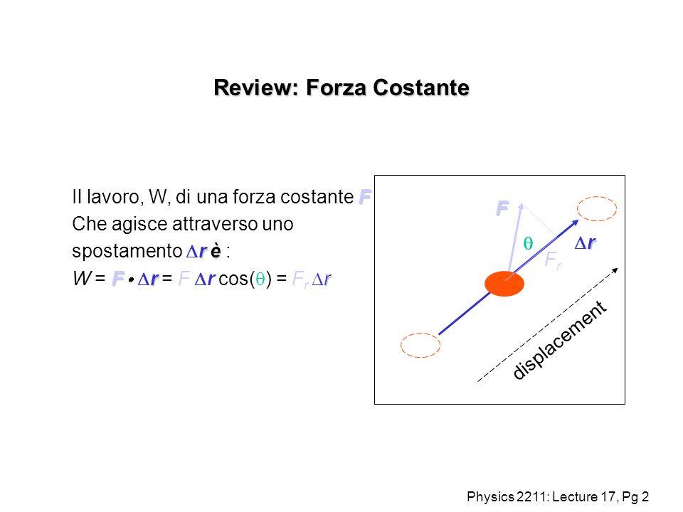 Physics 2211: Lecture 17, Pg 3 Lavoro fatto da una forza variabile : (1D) Quando la forza era costante scrivevamo W = F x Che è larea sotto F : Per una forza variabile, calcoliamo larea integrando dW = F(x) dx.