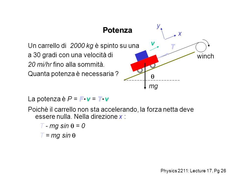Physics 2211: Lecture 17, Pg 26 Potenza Un carrello di 2000 kg è spinto su una a 30 gradi con una velocità di 20 mi/hr fino alla sommità. Quanta poten