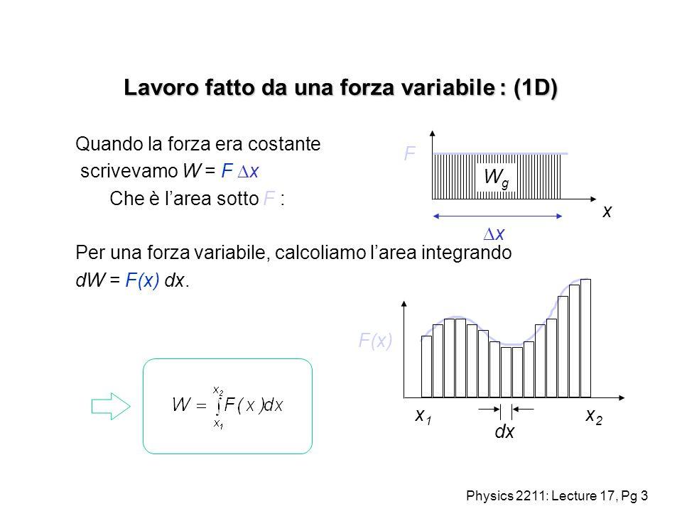 Physics 2211: Lecture 17, Pg 3 Lavoro fatto da una forza variabile : (1D) Quando la forza era costante scrivevamo W = F x Che è larea sotto F : Per un