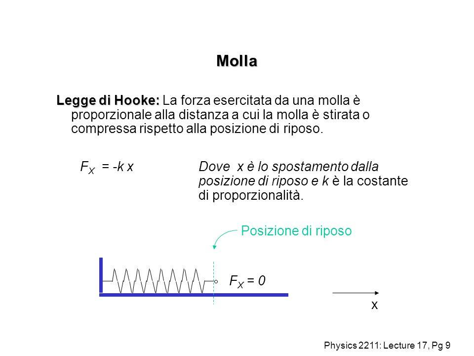 Physics 2211: Lecture 17, Pg 9 Molla Legge di Hooke: Legge di Hooke: La forza esercitata da una molla è proporzionale alla distanza a cui la molla è s