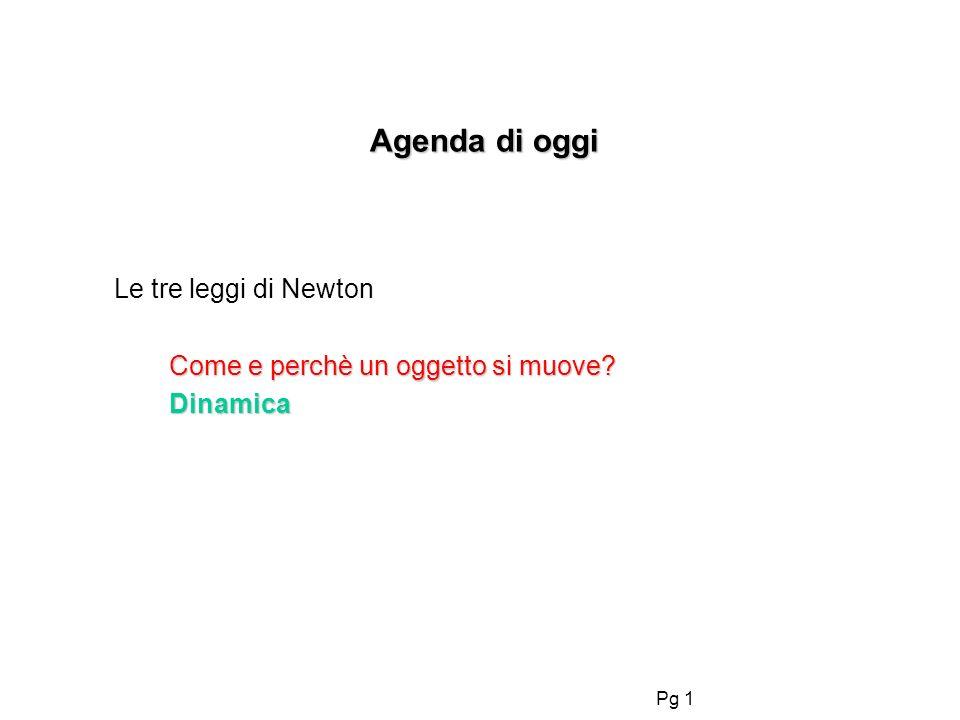 Pg 1 Agenda di oggi Agenda di oggi Le tre leggi di Newton Come e perchè un oggetto si muove.