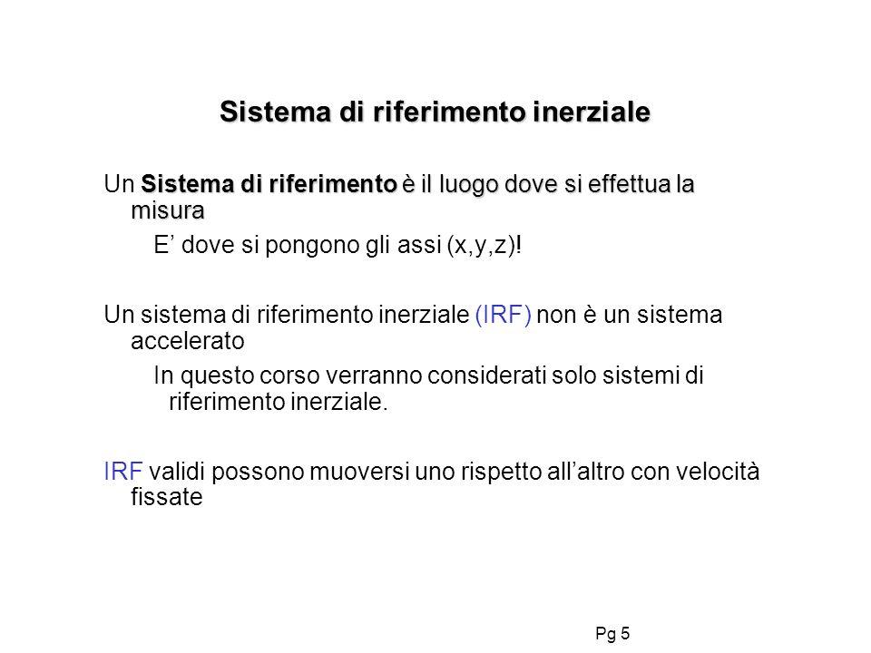 Pg 5 Sistema di riferimento inerziale Sistema di riferimento è il luogo dove si effettua la misura Un Sistema di riferimento è il luogo dove si effettua la misura E dove si pongono gli assi (x,y,z).