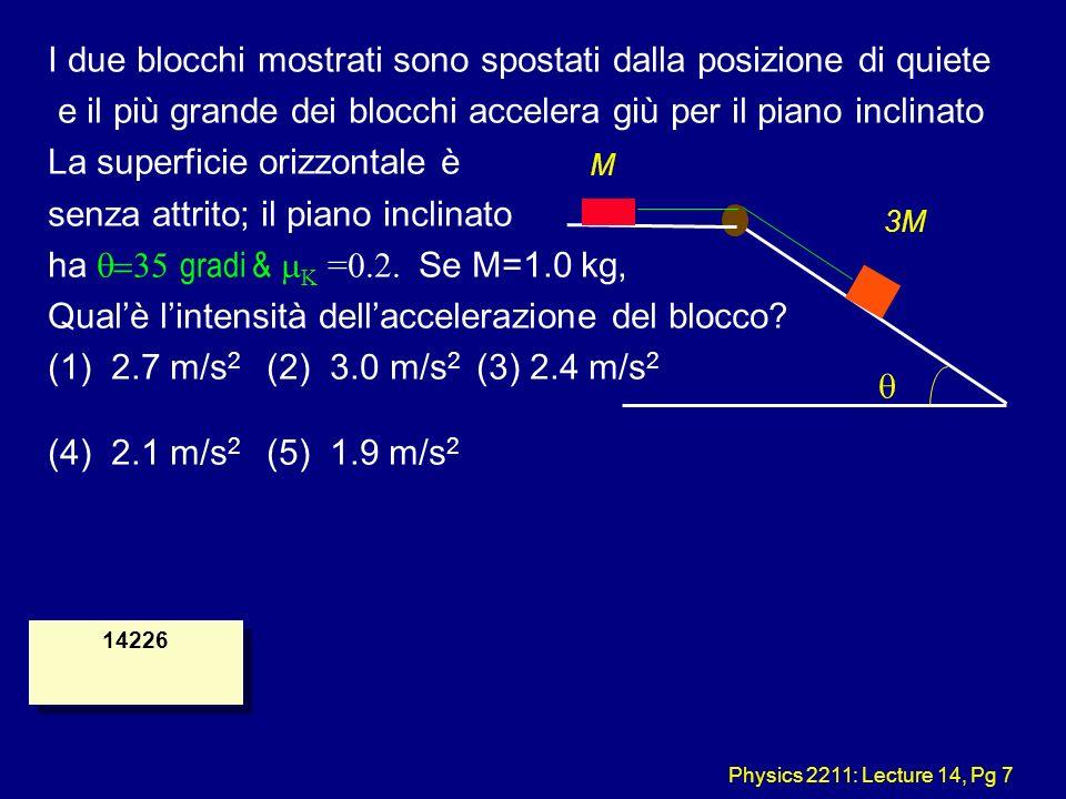 Physics 2211: Lecture 14, Pg 7 M 3M I due blocchi mostrati sono spostati dalla posizione di quiete e il più grande dei blocchi accelera giù per il pia