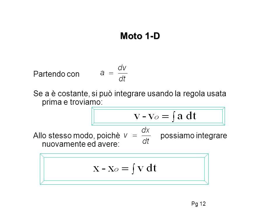 Pg 12 Partendo con Se a è costante, si può integrare usando la regola usata prima e troviamo: Allo stesso modo, poichè possiamo integrare nuovamente e