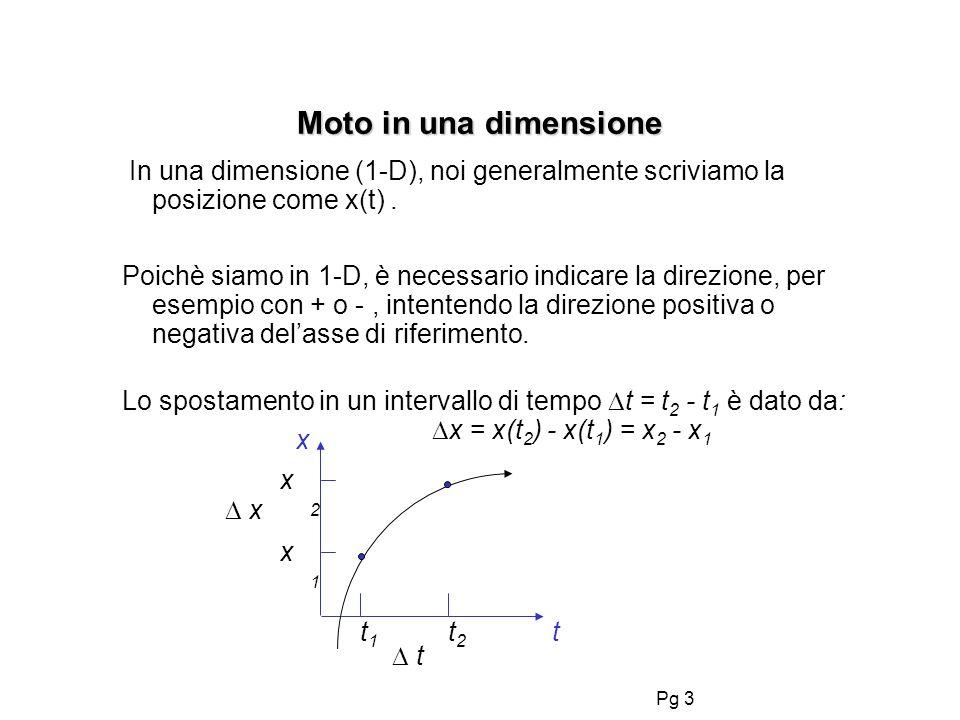 Pg 3 Moto in una dimensione In una dimensione (1-D), noi generalmente scriviamo la posizione come x(t). Poichè siamo in 1-D, è necessario indicare la