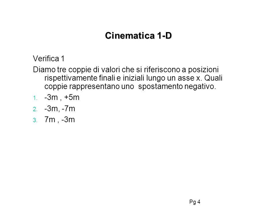 Pg 4 Cinematica 1-D Verifica 1 Diamo tre coppie di valori che si riferiscono a posizioni rispettivamente finali e iniziali lungo un asse x. Quali copp