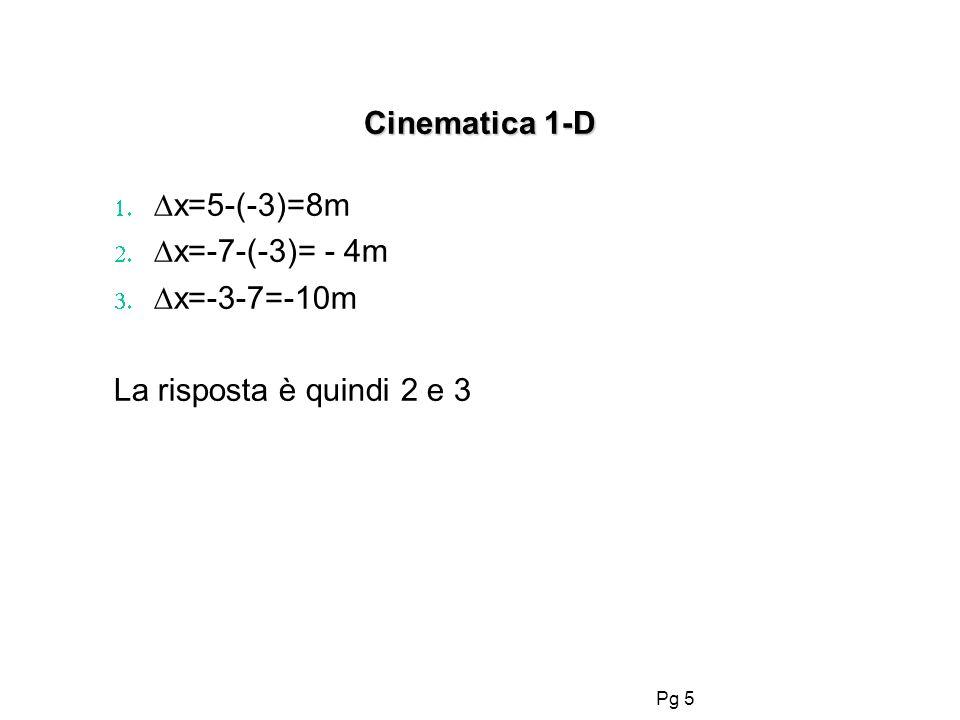 Pg 5 Cinematica 1-D x=5-(-3)=8m x=-7-(-3)= - 4m x=-3-7=-10m La risposta è quindi 2 e 3