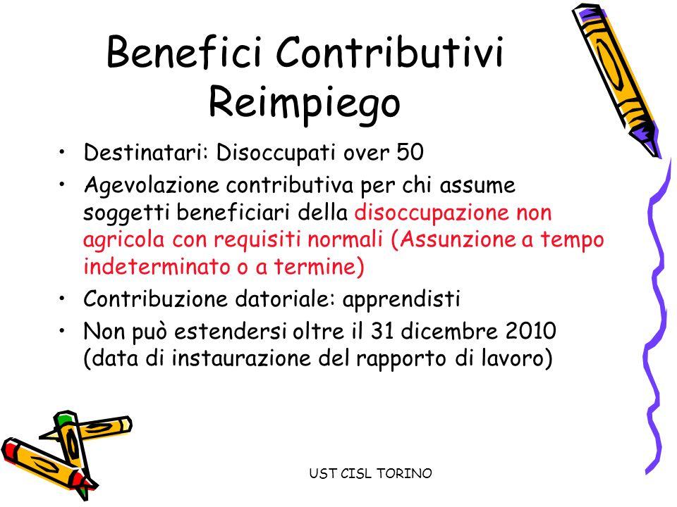 UST CISL TORINO Politiche di sostegno al ricollocamento 1 - INCENTIVI PER … CINQUANTENNI… Beneficiari di qualsiasi trattamento di sostegno al reddito