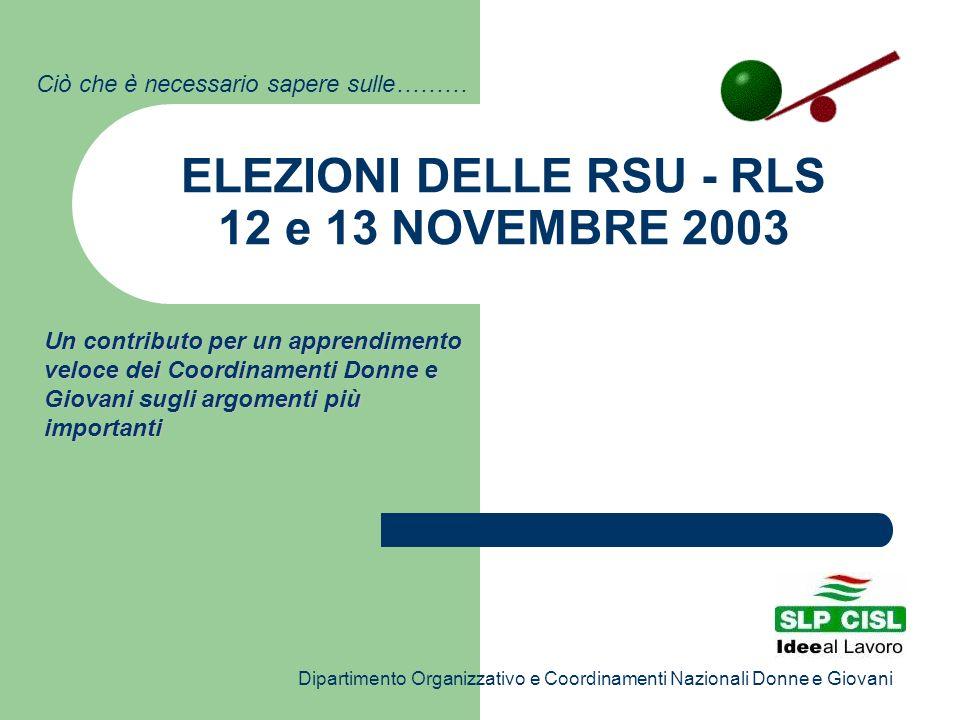 ELEZIONI DELLE RSU - RLS 12 e 13 NOVEMBRE 2003 Un contributo per un apprendimento veloce dei Coordinamenti Donne e Giovani sugli argomenti più importa