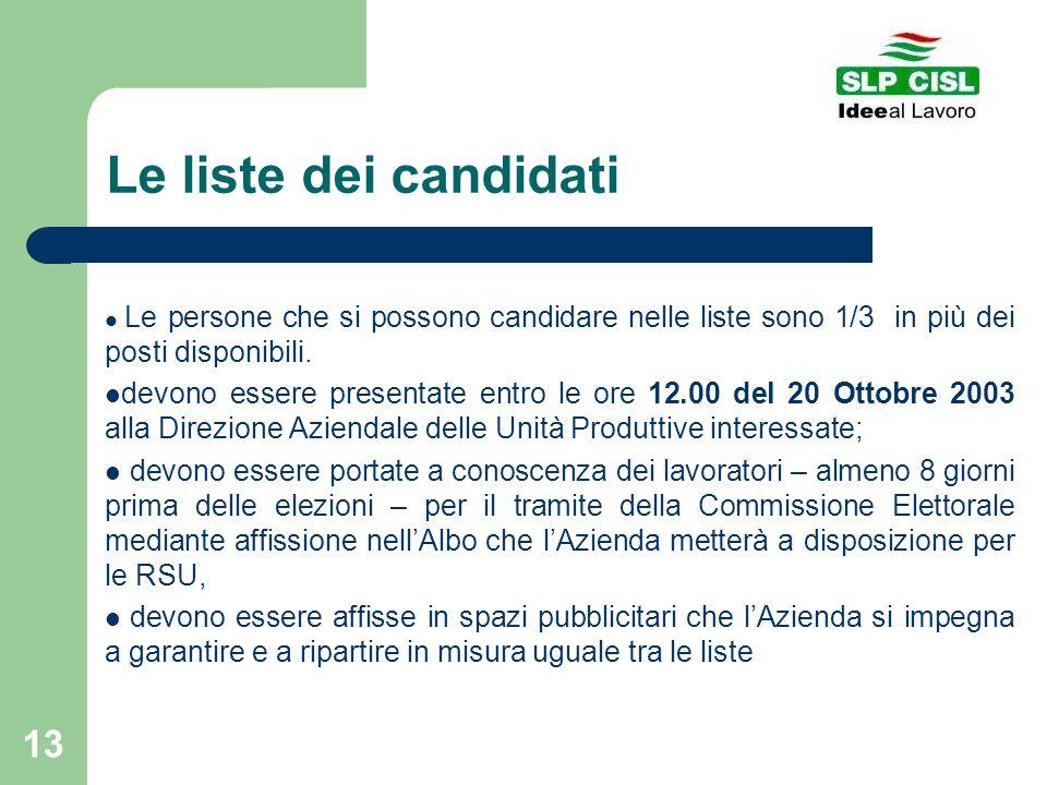13 Le liste dei candidati Le persone che si possono candidare nelle liste sono 1/3 in più dei posti disponibili. devono essere presentate entro le ore