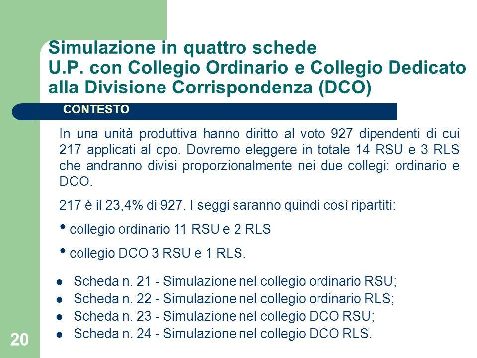 20 Simulazione in quattro schede U.P. con Collegio Ordinario e Collegio Dedicato alla Divisione Corrispondenza (DCO) Scheda n. 21 - Simulazione nel co