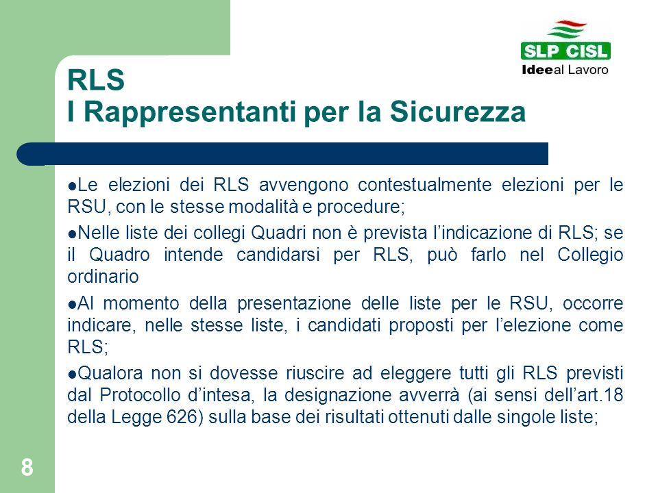 8 RLS I Rappresentanti per la Sicurezza Le elezioni dei RLS avvengono contestualmente elezioni per le RSU, con le stesse modalità e procedure; Nelle l