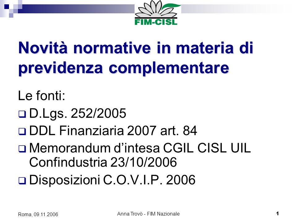 Anna Trovò - FIM Nazionale1 Roma, 09.11.2006 Novità normative in materia di previdenza complementare Le fonti: D.Lgs.