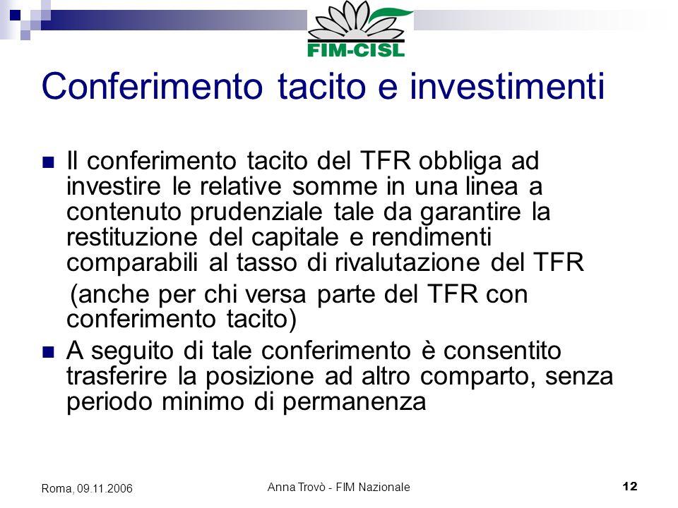 Anna Trovò - FIM Nazionale12 Roma, 09.11.2006 Conferimento tacito e investimenti Il conferimento tacito del TFR obbliga ad investire le relative somme in una linea a contenuto prudenziale tale da garantire la restituzione del capitale e rendimenti comparabili al tasso di rivalutazione del TFR (anche per chi versa parte del TFR con conferimento tacito) A seguito di tale conferimento è consentito trasferire la posizione ad altro comparto, senza periodo minimo di permanenza