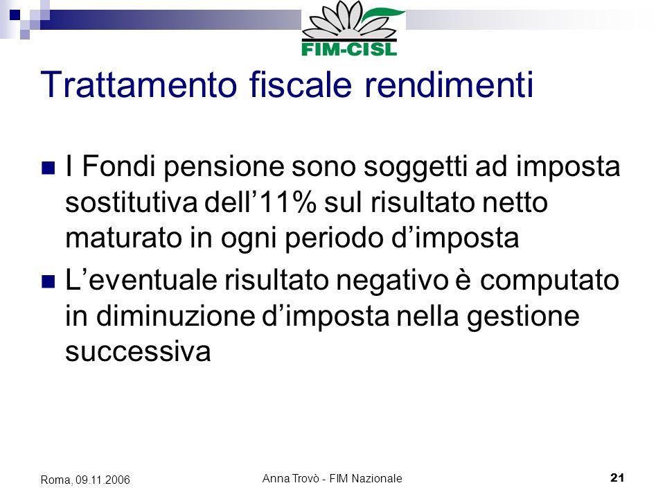 Anna Trovò - FIM Nazionale21 Roma, 09.11.2006 Trattamento fiscale rendimenti I Fondi pensione sono soggetti ad imposta sostitutiva dell11% sul risultato netto maturato in ogni periodo dimposta Leventuale risultato negativo è computato in diminuzione dimposta nella gestione successiva