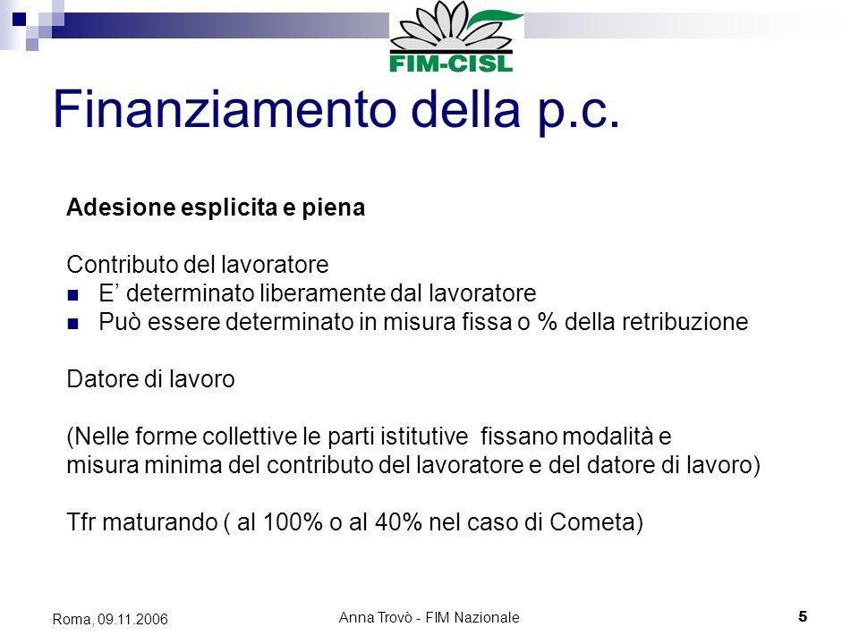 Anna Trovò - FIM Nazionale5 Roma, 09.11.2006 Finanziamento della p.c.