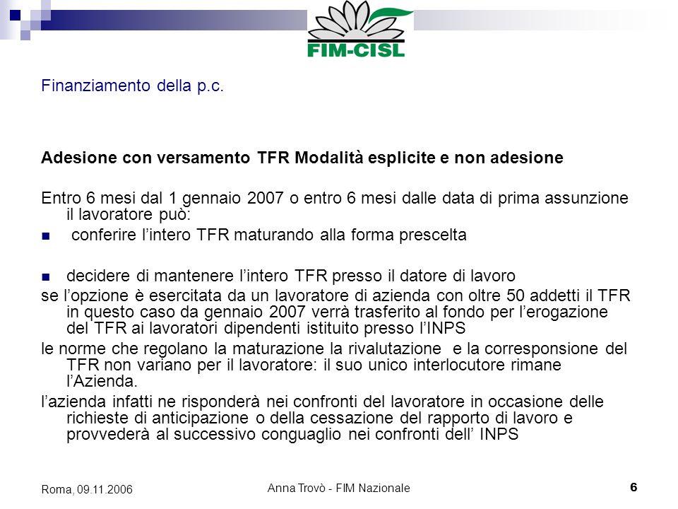 Anna Trovò - FIM Nazionale6 Roma, 09.11.2006 Finanziamento della p.c.