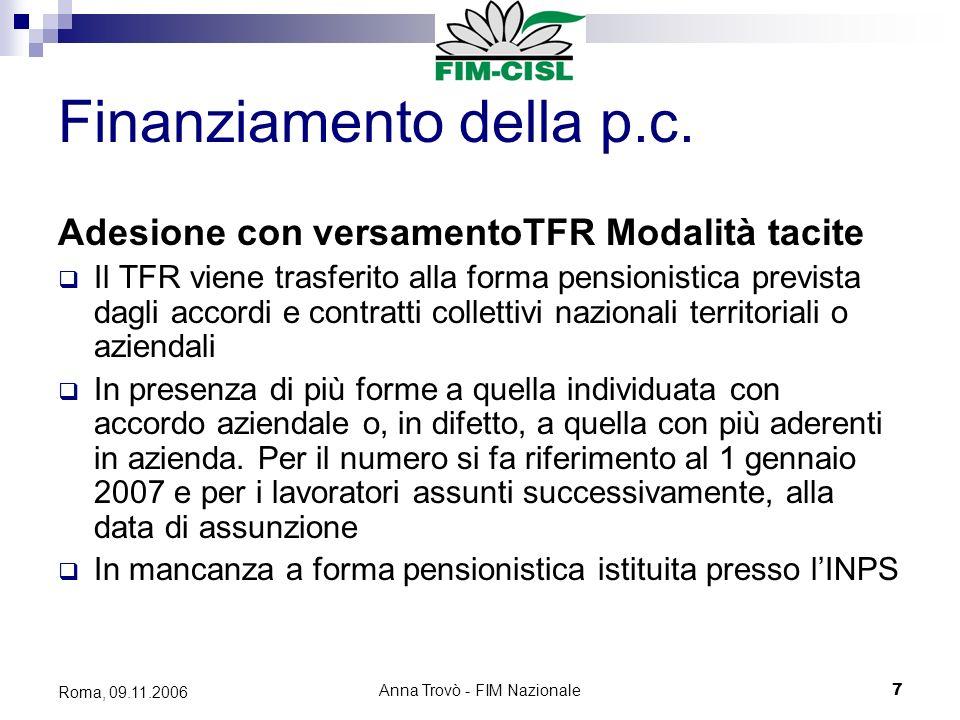Anna Trovò - FIM Nazionale7 Roma, 09.11.2006 Finanziamento della p.c.