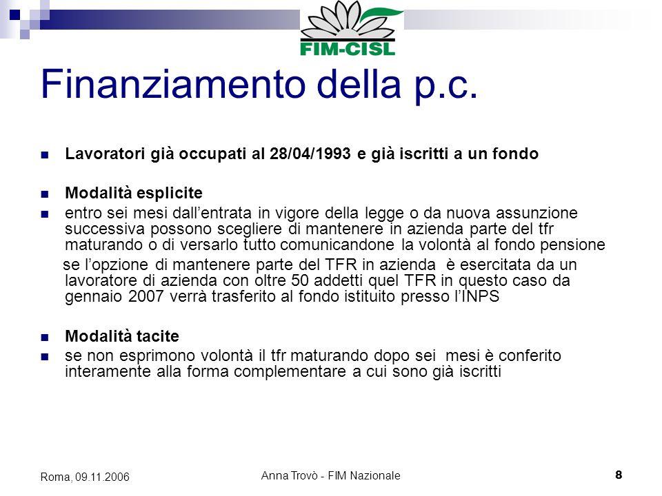 Anna Trovò - FIM Nazionale8 Roma, 09.11.2006 Finanziamento della p.c.