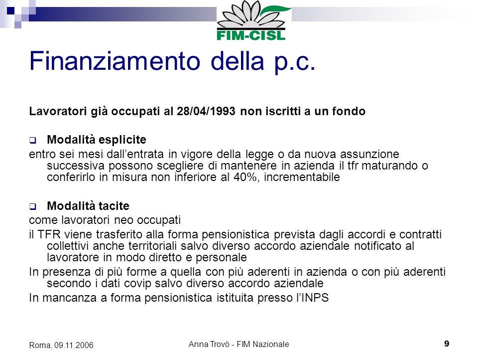 Anna Trovò - FIM Nazionale9 Roma, 09.11.2006 Finanziamento della p.c.