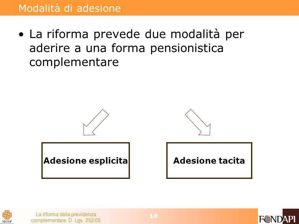 La riforma della previdenza complementare: D. Lgs. 252/05 10 Modalità di adesione La riforma prevede due modalità per aderire a una forma pensionistic