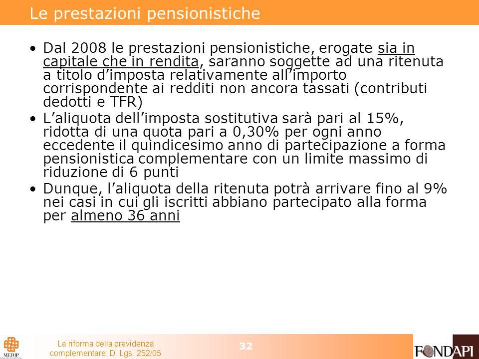 La riforma della previdenza complementare: D. Lgs. 252/05 32 Le prestazioni pensionistiche Dal 2008 le prestazioni pensionistiche, erogate sia in capi