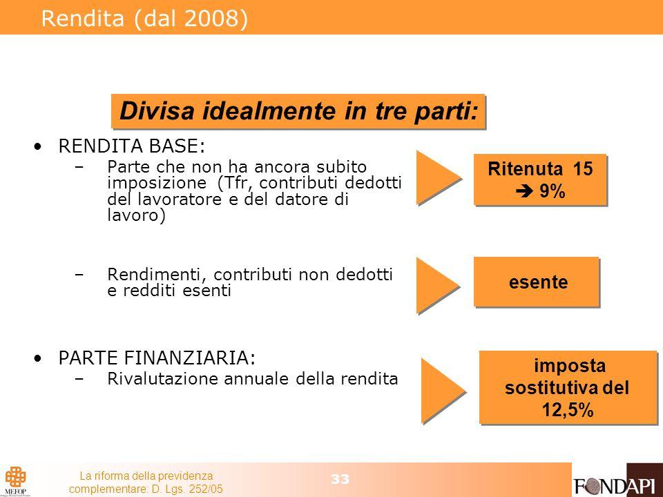 La riforma della previdenza complementare: D. Lgs. 252/05 33 Rendita (dal 2008) RENDITA BASE: –Parte che non ha ancora subito imposizione (Tfr, contri