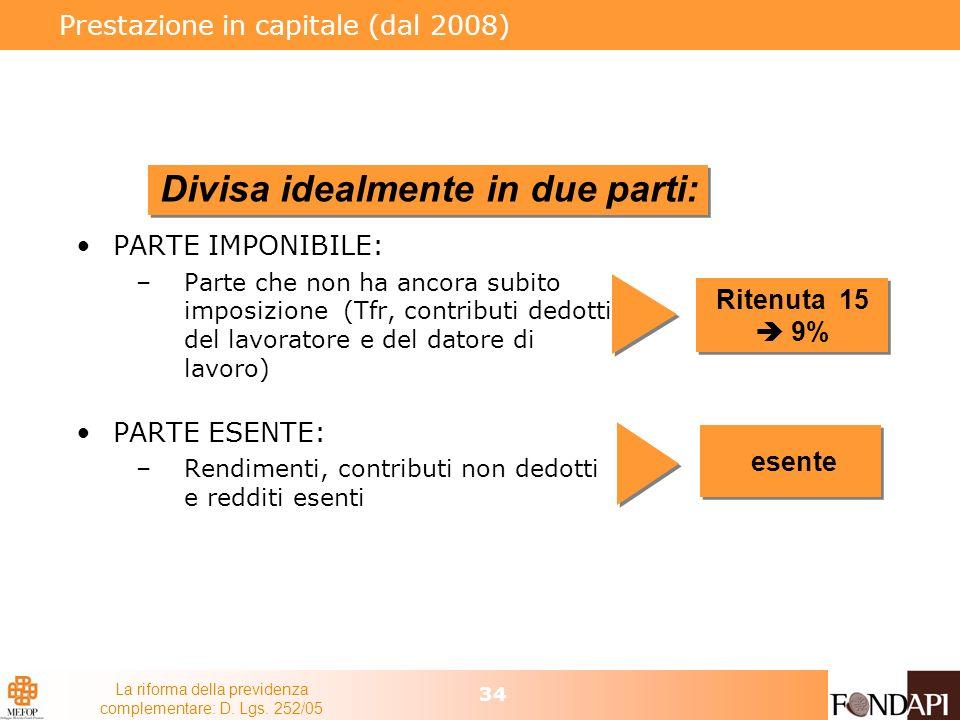 La riforma della previdenza complementare: D. Lgs. 252/05 34 Prestazione in capitale (dal 2008) PARTE IMPONIBILE: –Parte che non ha ancora subito impo