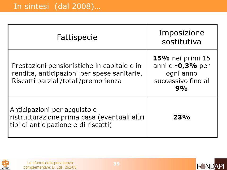 La riforma della previdenza complementare: D. Lgs. 252/05 39 In sintesi (dal 2008)… Fattispecie Imposizione sostitutiva Prestazioni pensionistiche in
