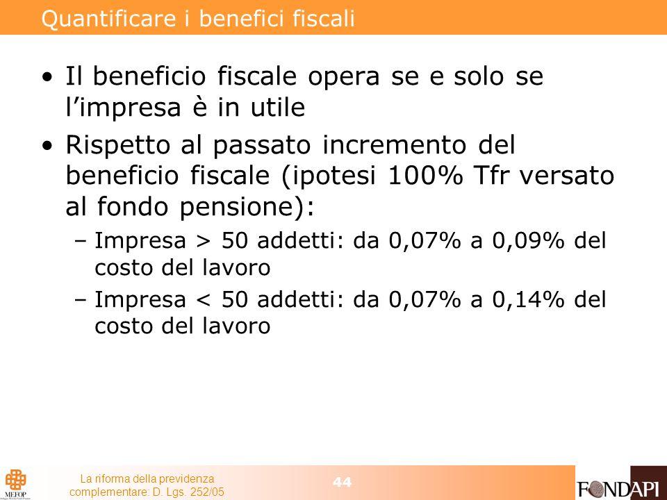 La riforma della previdenza complementare: D. Lgs. 252/05 44 Quantificare i benefici fiscali Il beneficio fiscale opera se e solo se limpresa è in uti