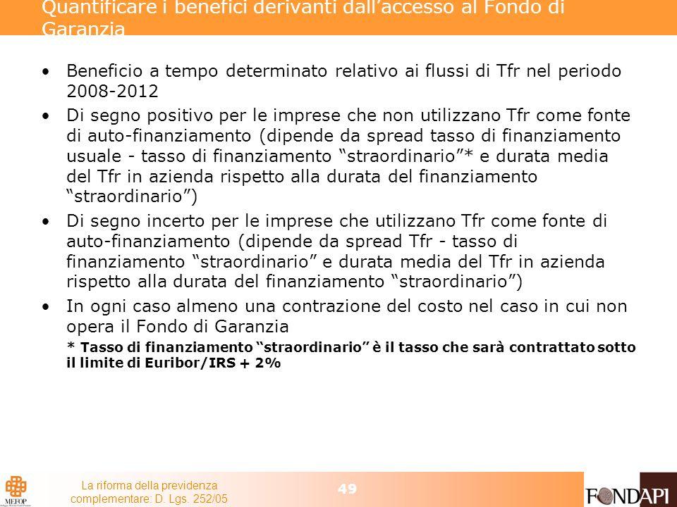 La riforma della previdenza complementare: D. Lgs. 252/05 49 Quantificare i benefici derivanti dallaccesso al Fondo di Garanzia Beneficio a tempo dete