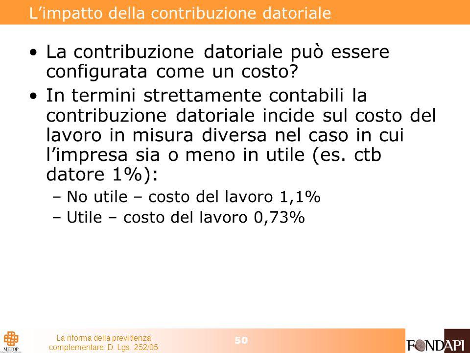 La riforma della previdenza complementare: D. Lgs. 252/05 50 Limpatto della contribuzione datoriale La contribuzione datoriale può essere configurata