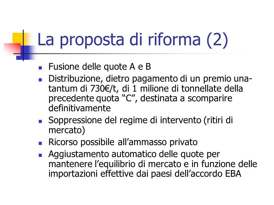 La proposta di riforma (2) Fusione delle quote A e B Distribuzione, dietro pagamento di un premio una- tantum di 730/t, di 1 milione di tonnellate del