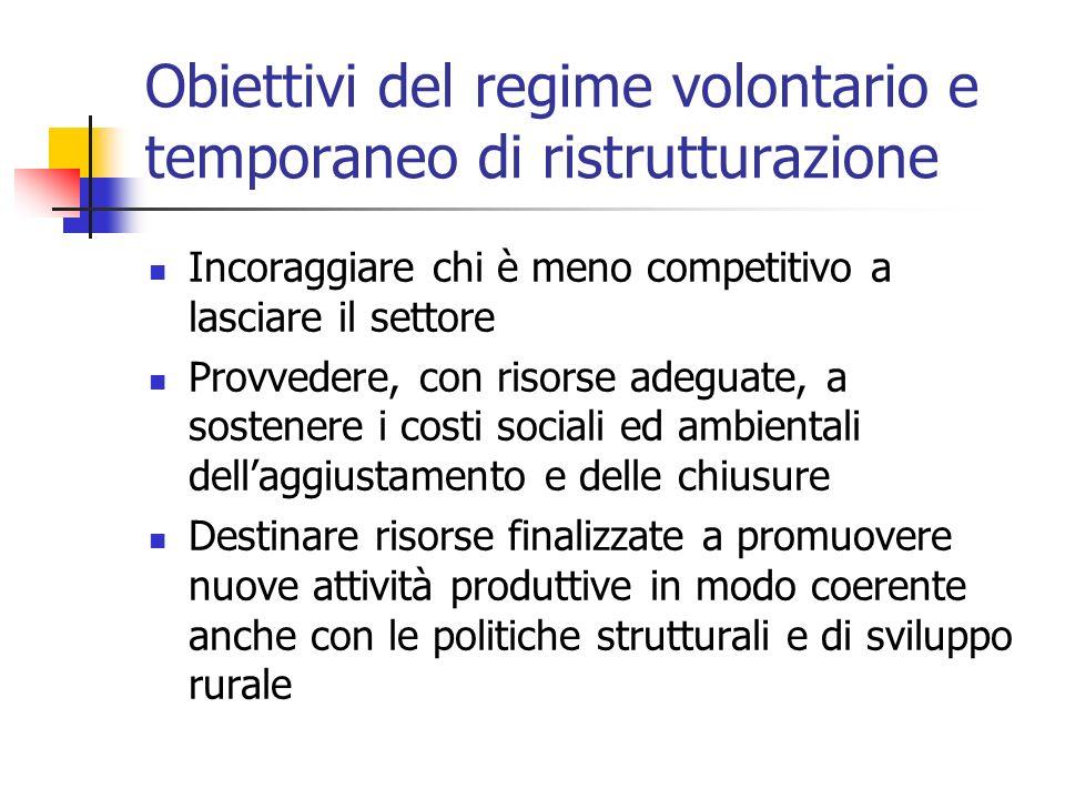 Obiettivi del regime volontario e temporaneo di ristrutturazione Incoraggiare chi è meno competitivo a lasciare il settore Provvedere, con risorse ade