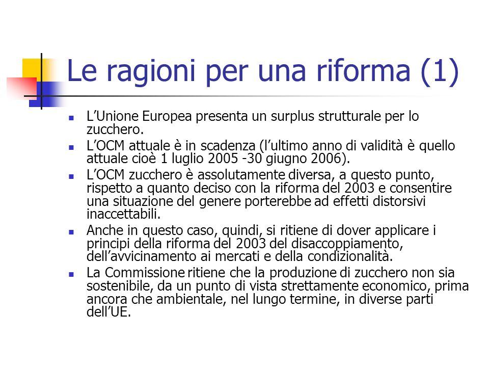 Le ragioni per una riforma (1) LUnione Europea presenta un surplus strutturale per lo zucchero. LOCM attuale è in scadenza (lultimo anno di validità è