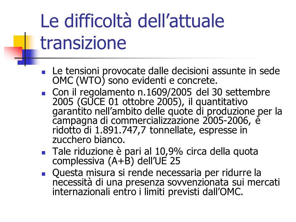 Le difficoltà dellattuale transizione Le tensioni provocate dalle decisioni assunte in sede OMC (WTO) sono evidenti e concrete. Con il regolamento n.1