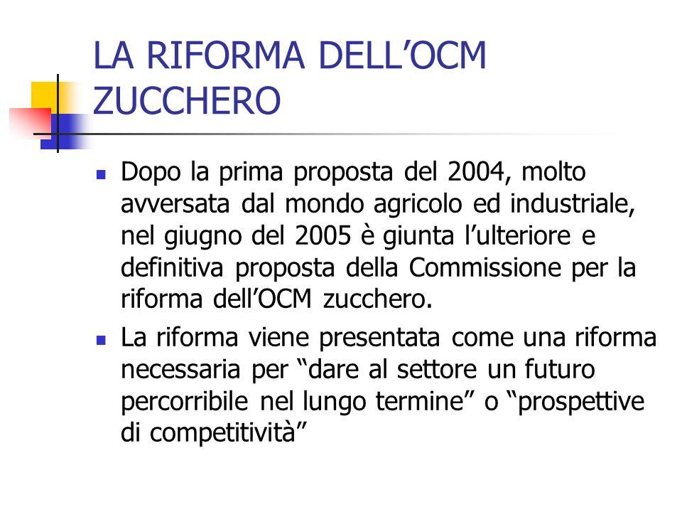 LA RIFORMA DELLOCM ZUCCHERO Dopo la prima proposta del 2004, molto avversata dal mondo agricolo ed industriale, nel giugno del 2005 è giunta lulterior